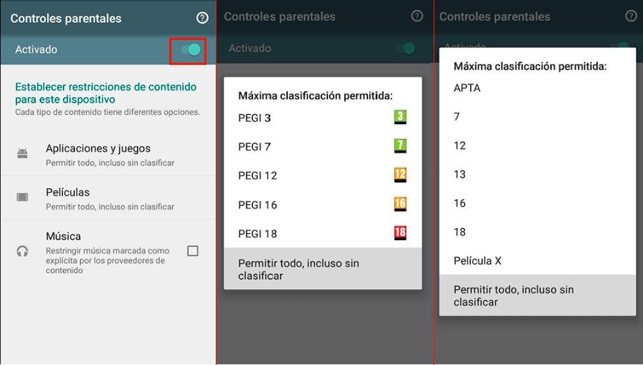 Activar y Configurar Control Parental Google Play